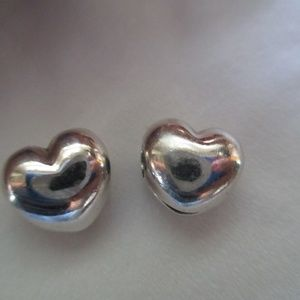 Pandora Clip set of 2  Heart Sterling Silver Charm